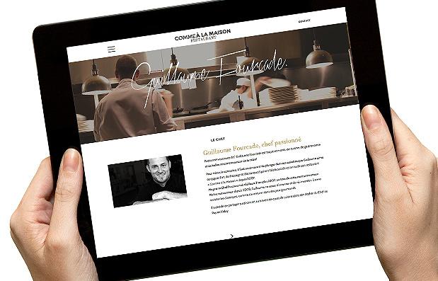 Création du site internet de Guillaume Fourcade pour son restaurant Comme A la Maison.