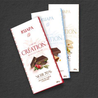 Création de packaging pour des tablettes de chocolat.