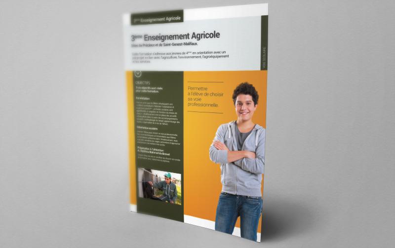 Création de nouveaux supports de communication pour le lycée agricole de Précieux.