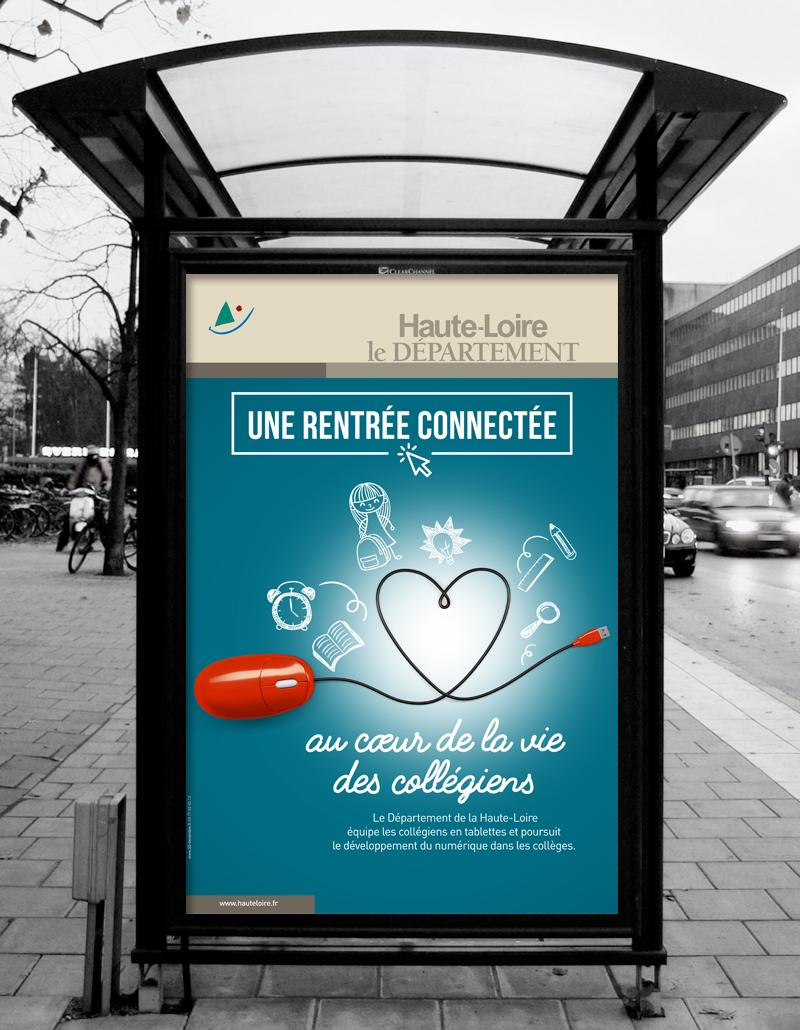 """Création de la campagne abribus """"Rentrée 2016"""" du Département de la Haute-Loire"""