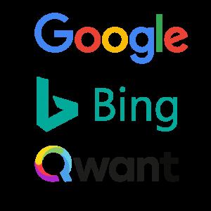 Logo Google Bing et Qwant. Nos site Internet sur-mesure sont indexables sur tous les moteurs de recherche