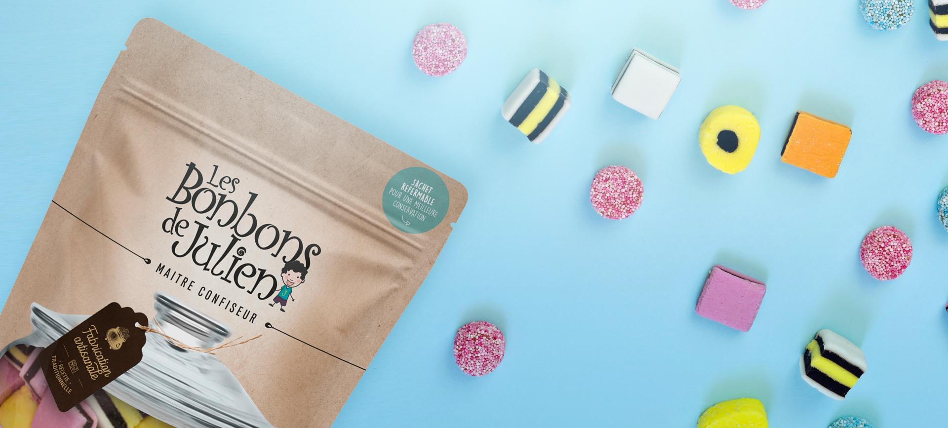 Création de packaging gourmand pour les bonbons Julien.