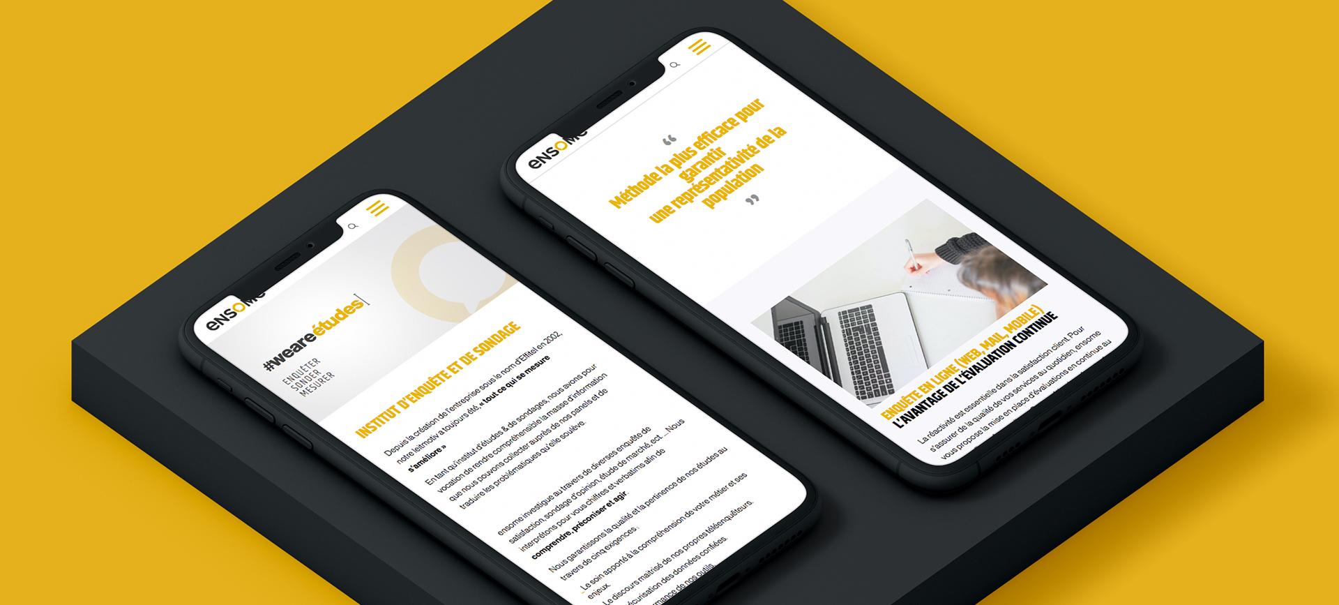 Bandeau mockup présentant le site internet Ensome sur mobile