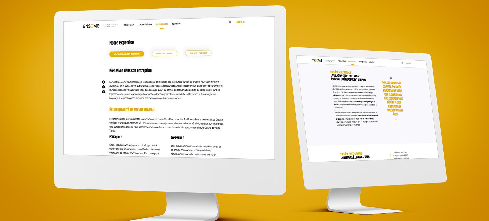 Bandeau mockups avec deux ordinateur présentant le site internet Ensome