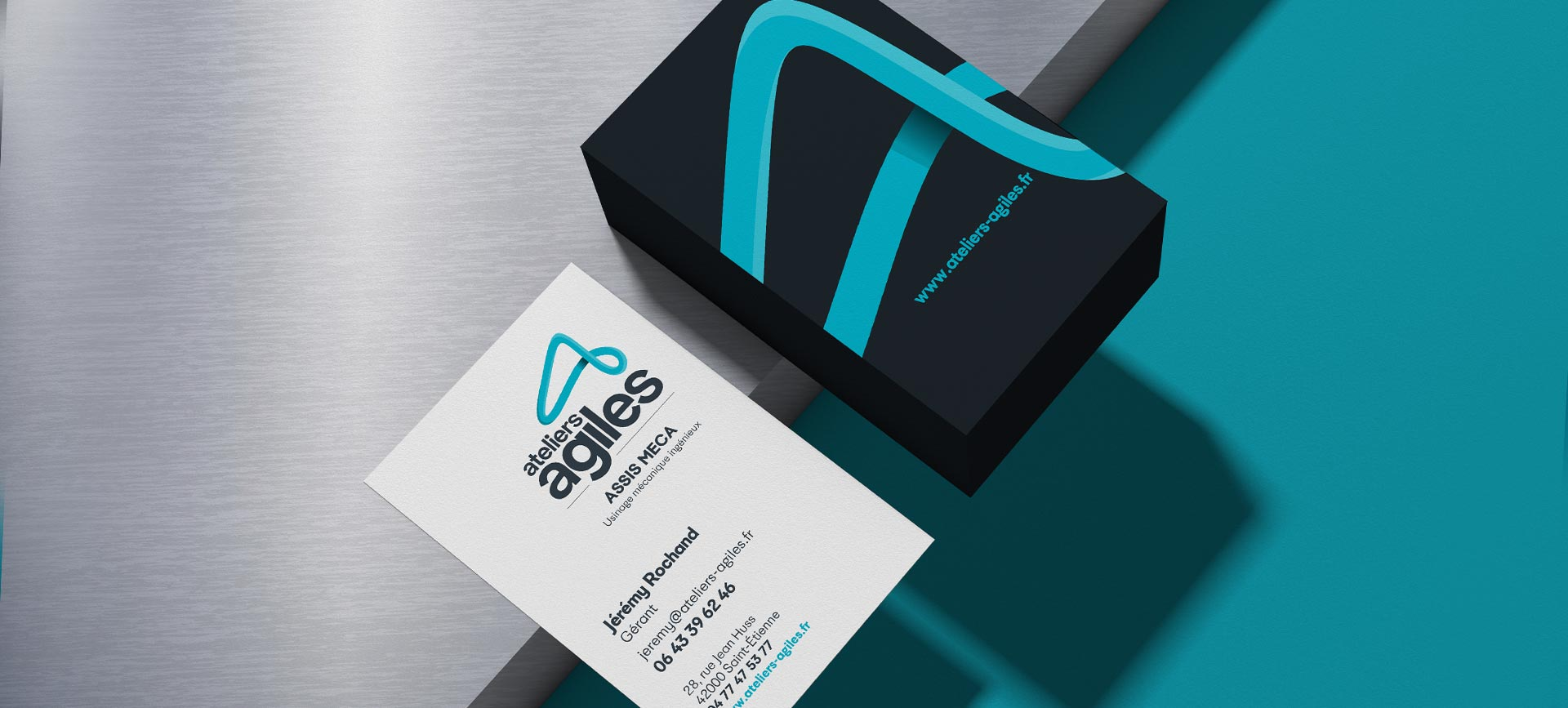 Bandeau cartes de visite Ateliers Agiles conçues pour leur branding