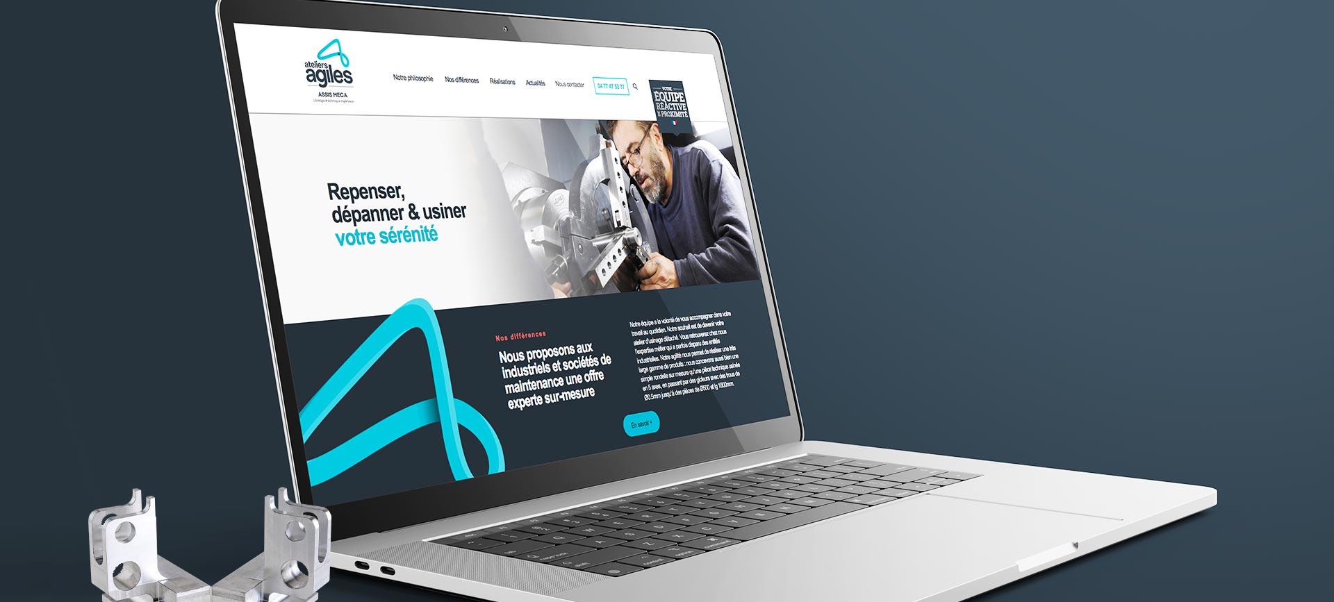 Mockup du site Ateliers Agiles pour leur branding