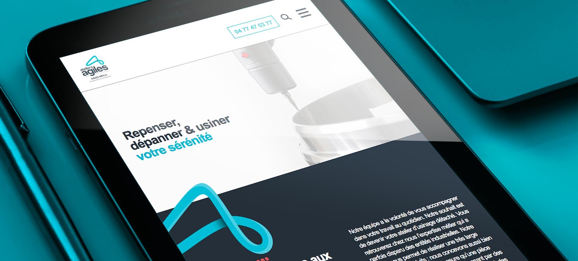 branding d'Ateliers Agiles au travers d'un mockup de leur site internet