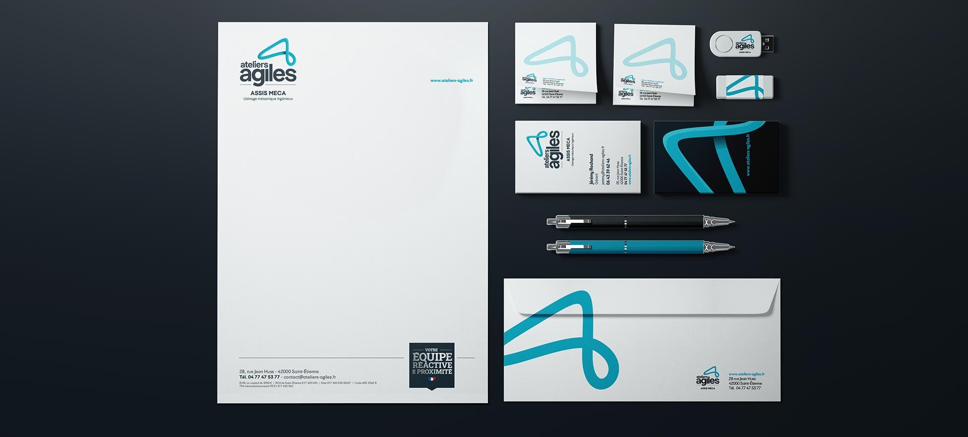 Papier à lettre carté Ateliers Agiles pour leur branding