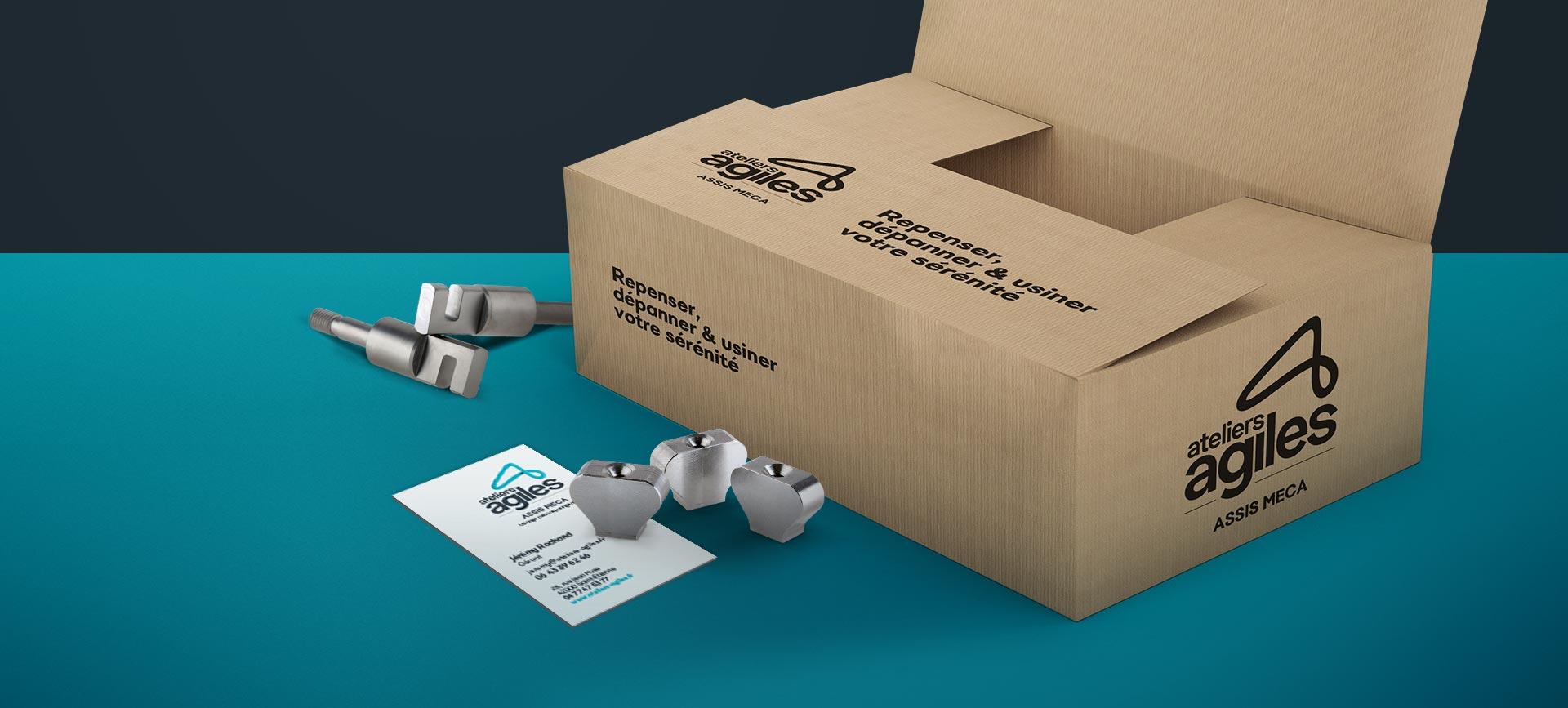 Carton signé Ateliers Agiles conçu pour leur branding