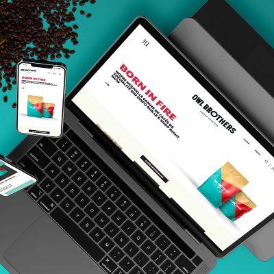 Mockup carré du site e-shop d'Owl Brothers