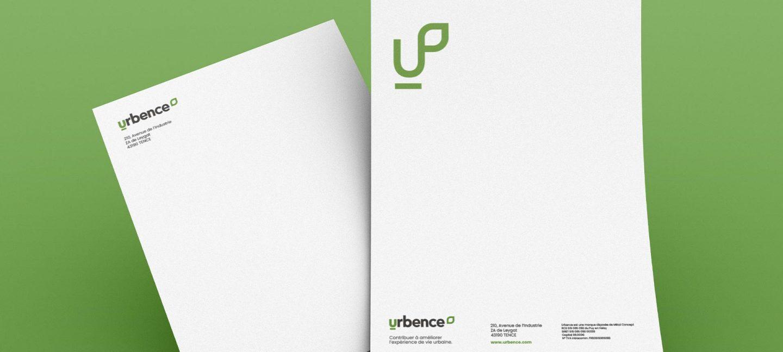 Papier à lettre signée de l'identité réalisée pour la construction de marque d'Urbence