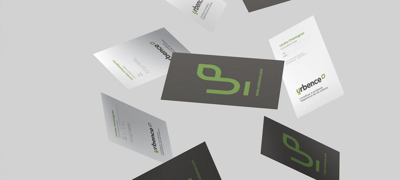 Bandeau présentant les cartes de visite pour la construction de marque d'Urbence